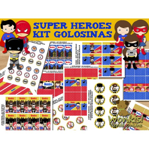 Super Heroes  -  Kit Candy Bar (Golosinas)