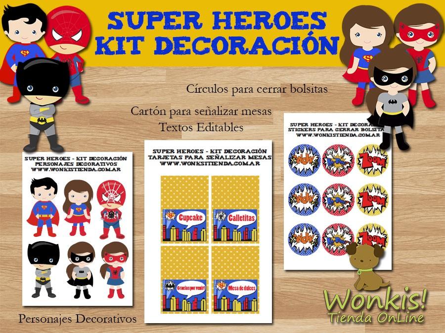 Super Heroes Kit Decoracion Fiesta Imprimible