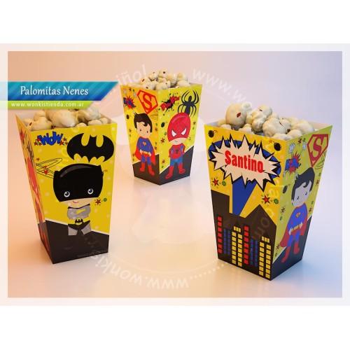 Super Héroes (nene) - Caja Palomitas con Textos Editables