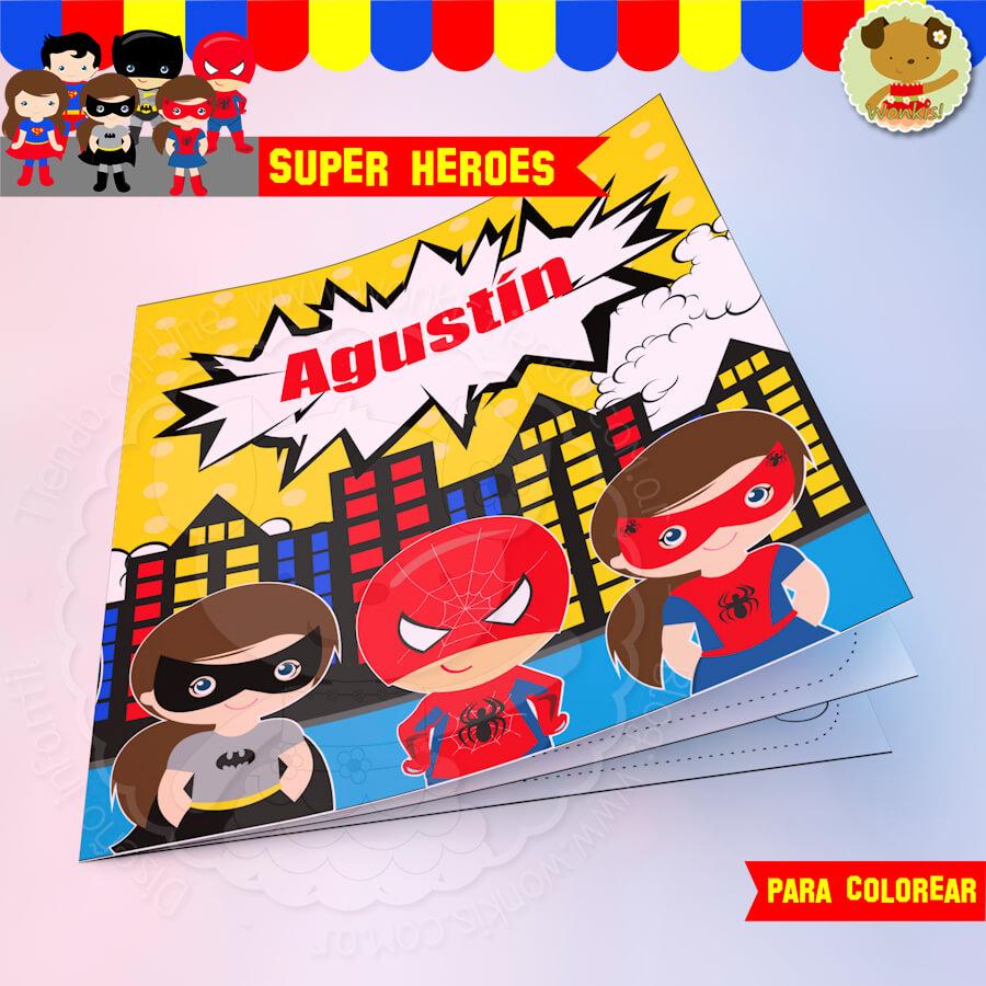 Super Heroes - Invitación Textos editables
