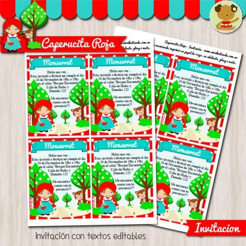 Caperucita Roja - Invitación Textos Editables