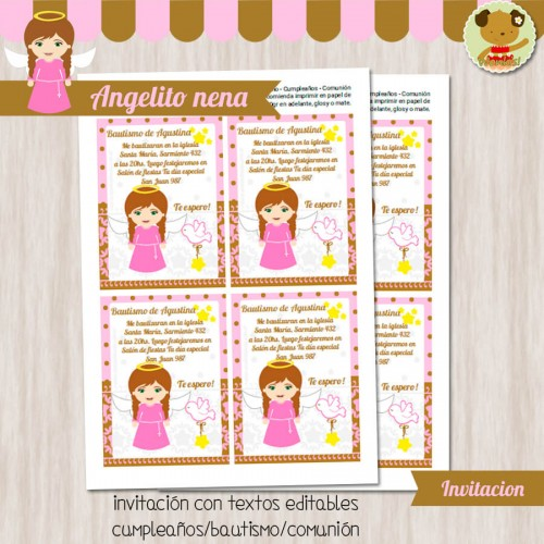 Angelito nena -  Invitación Textos editables