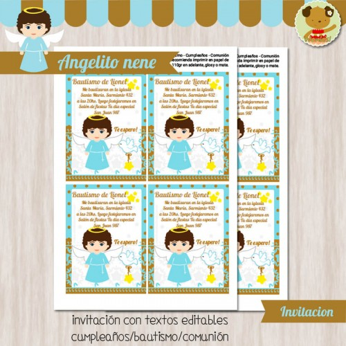 Angelito nene -  Invitación Textos editables
