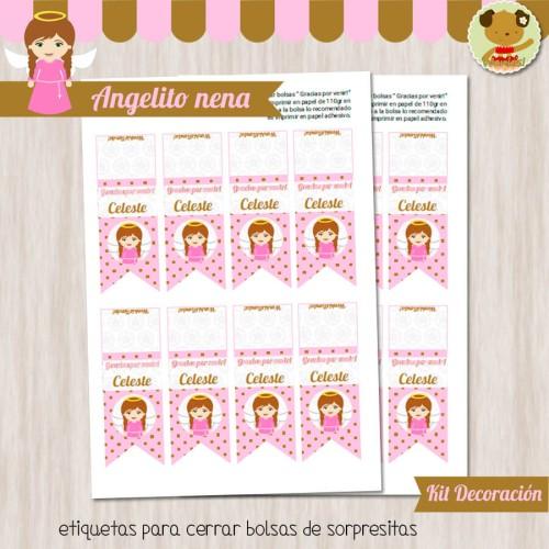 Angelito nena -  Kit Decoracion Fiesta Imprimible