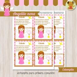 Angelito nena - Estampita Textos Editables