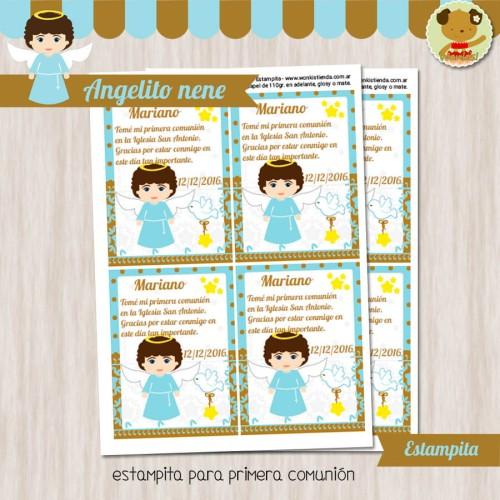 Angelito nene - Estampita Textos Editables