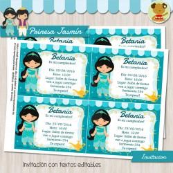 Princesa Jasmín - Invitación Textos Editables