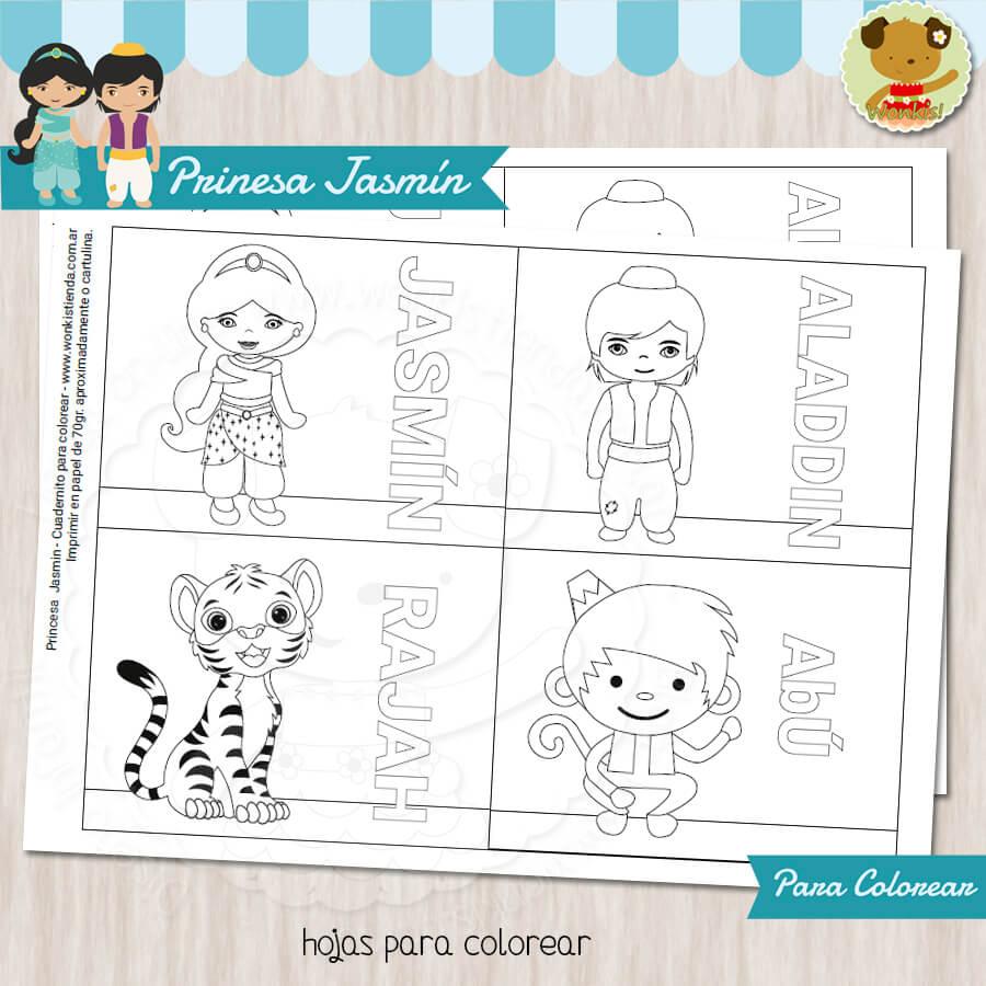 Princesa Jasmín - Cuaderno para colorear