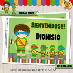 Tortugas Ninjas -  Kit Decoracion Fiesta Imprimible