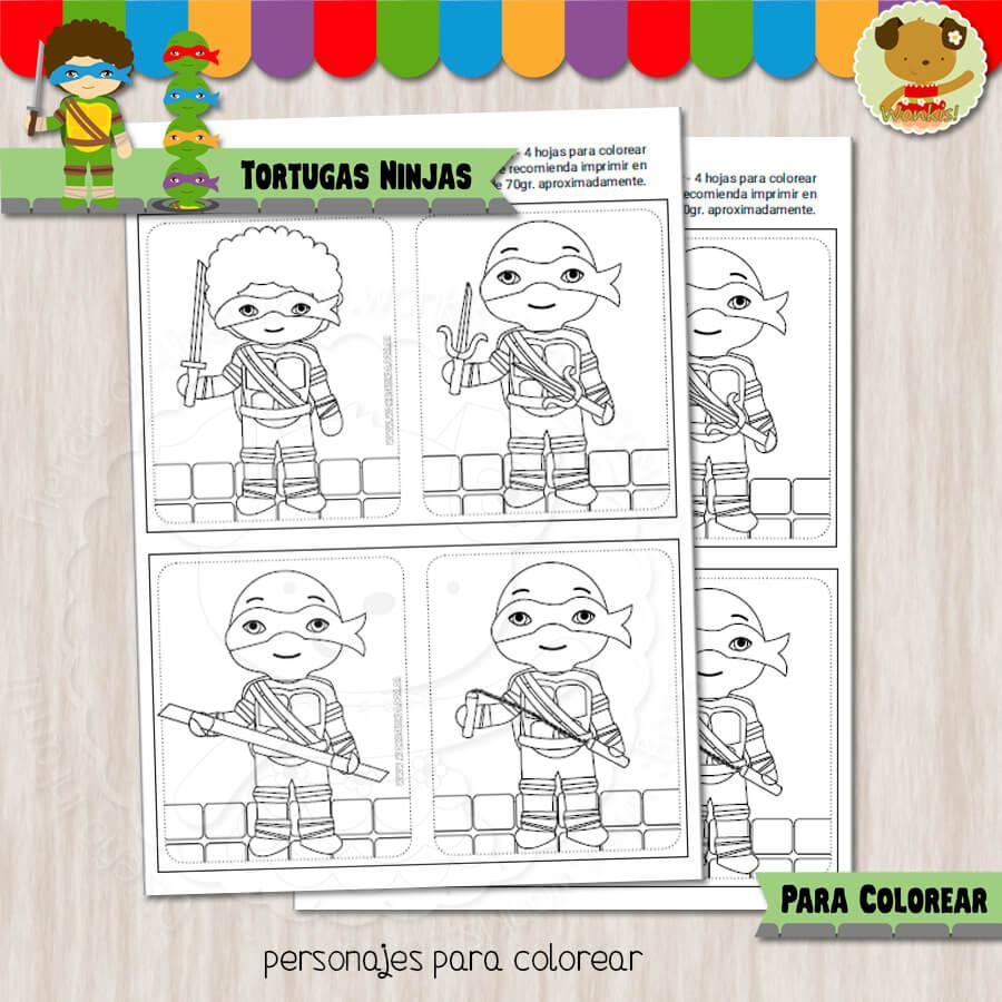 Tortugas Ninjas - Cuaderno para colorear