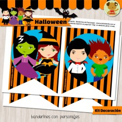 Halloween -  Kit Decoracion Fiesta Imprimible