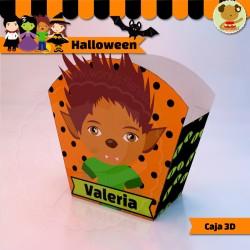 Halloween Hombre Lobo - Caja 3D  Golosinas Maceta