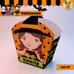 Halloween Bruja - Caja 3D  Golosinas Maceta