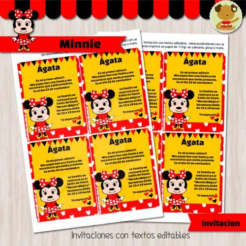 Minnie -  Invitación Textos editables