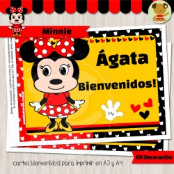 Minnie -  Kit Decoración Fiesta Imprimible (Rojo)