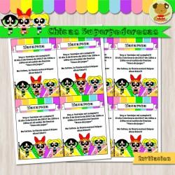 Chicas SuperPoderosas -  Invitación Textos editables