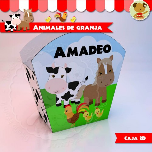 Animales de Granja - Caja 3D  Golosinas Maceta