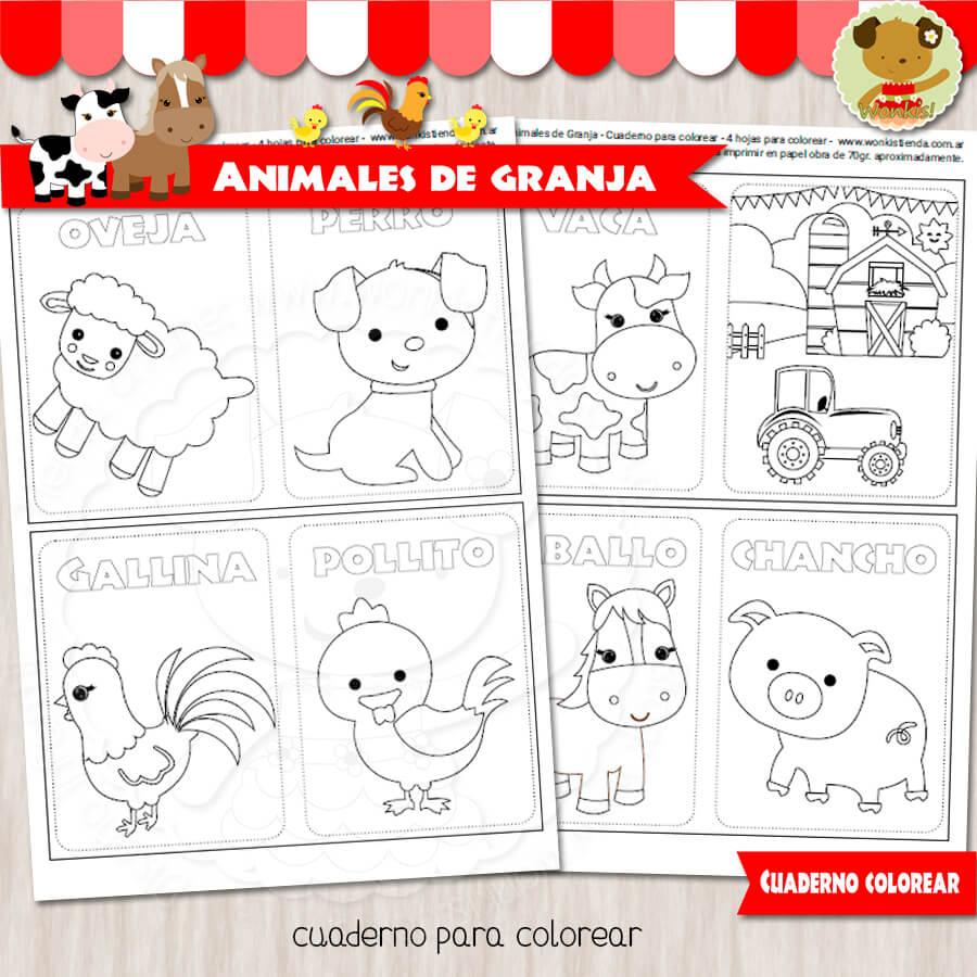 Animales de Granja - Cuaderno para colorear