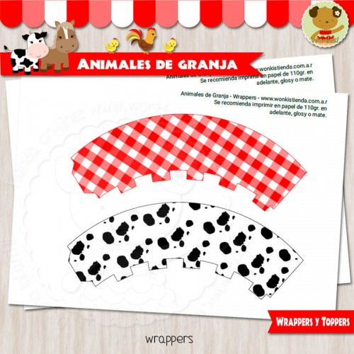 Animales de Granja - Wrappers y Toppers
