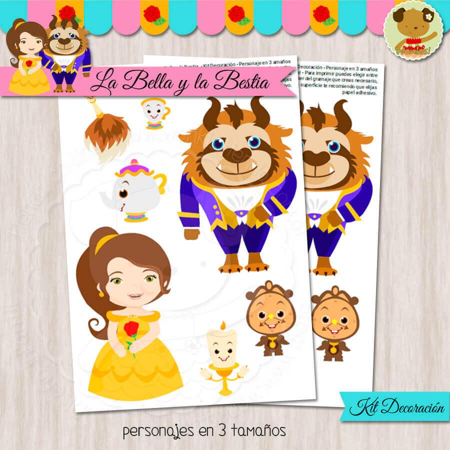 La Bella Y La Bestia Kit Decoracion Fiesta Imprimible