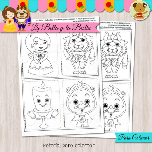 La Bella y la Bestia - Cuaderno para colorear