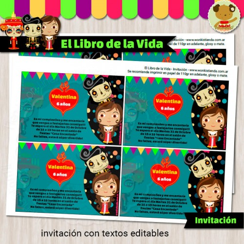 El Libro de la Vida  - Invitación Textos Editables