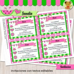 Sandía - Invitación Textos Editables