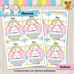 Unicornio -  Invitación Textos editables