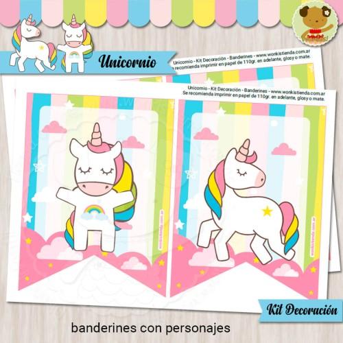 Unicornio  -  Kit Decoracion Fiesta Imprimible