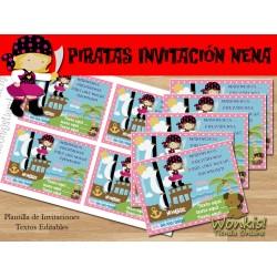 Pirata nena - Invitación Textos editables