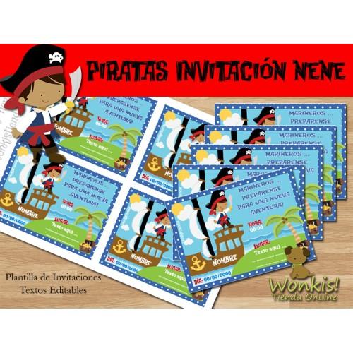 Pirata nene - Invitación Textos editables