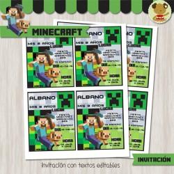 Minecraft -  Invitación Textos editables
