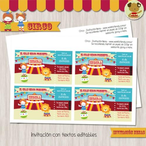 Circo Nena-  Invitación Textos editables