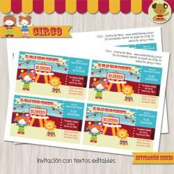 Circo Nene-  Invitación Textos editables