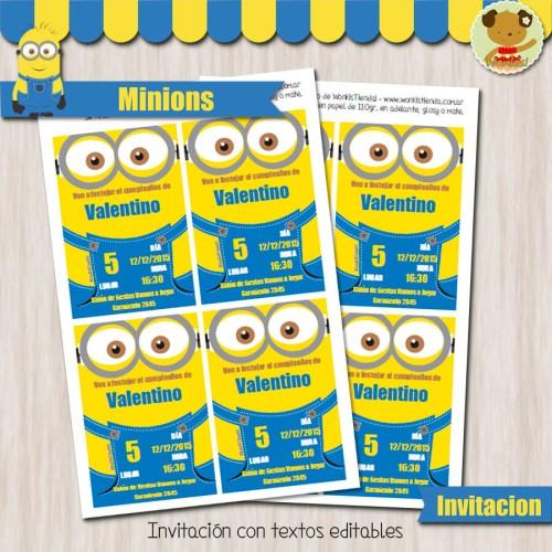 Minions -  Invitación Textos editables