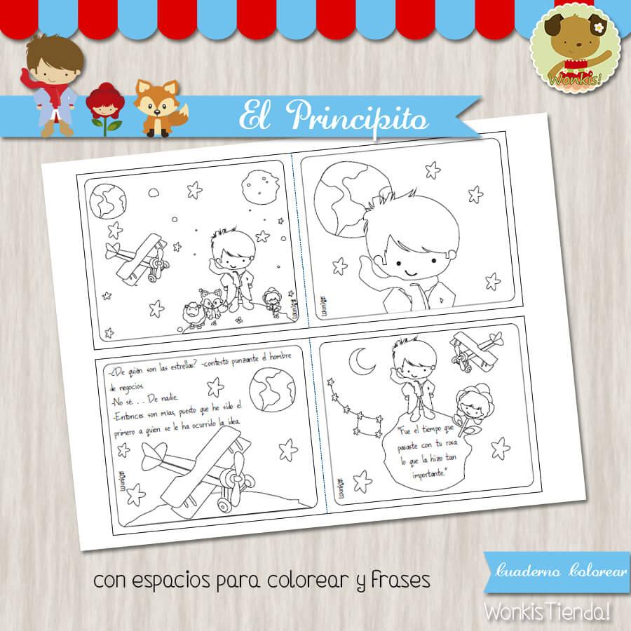 El Principito Moreno Cuaderno Para Colorear