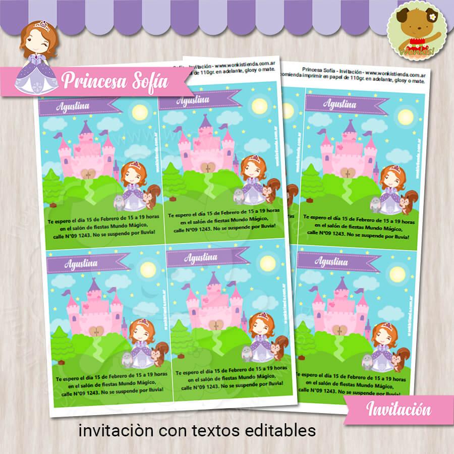 Princesa Sofia Invitación Textos Editables