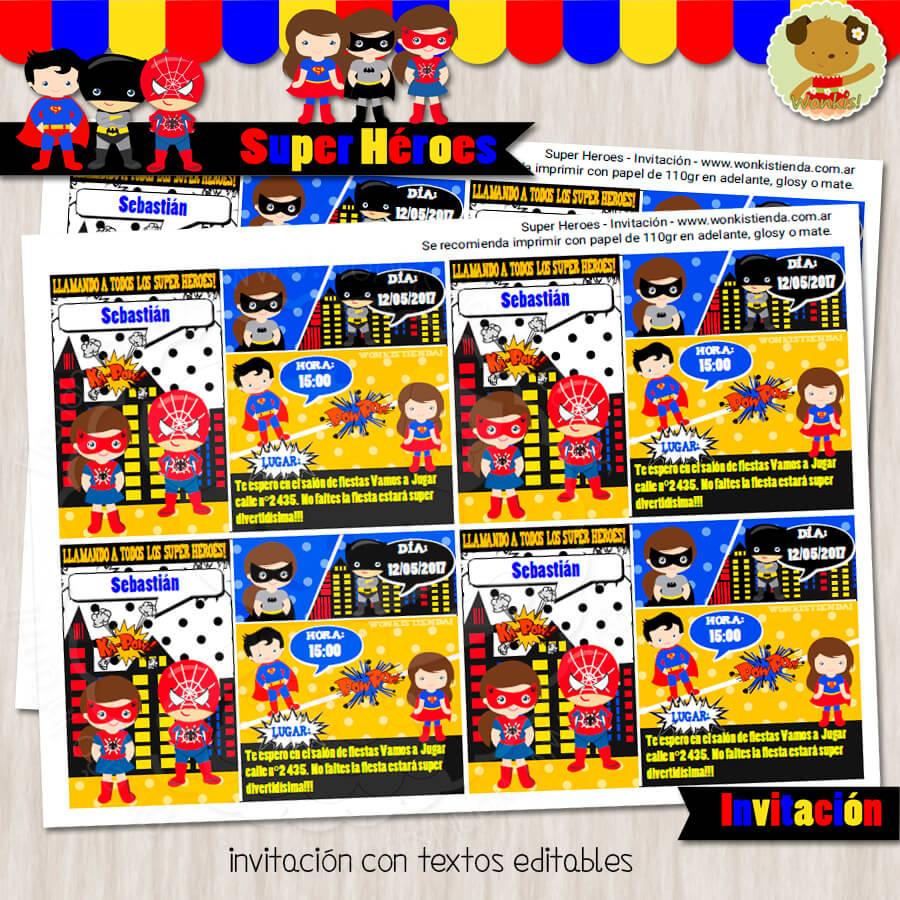 Super Heroes Invitación Textos Editables