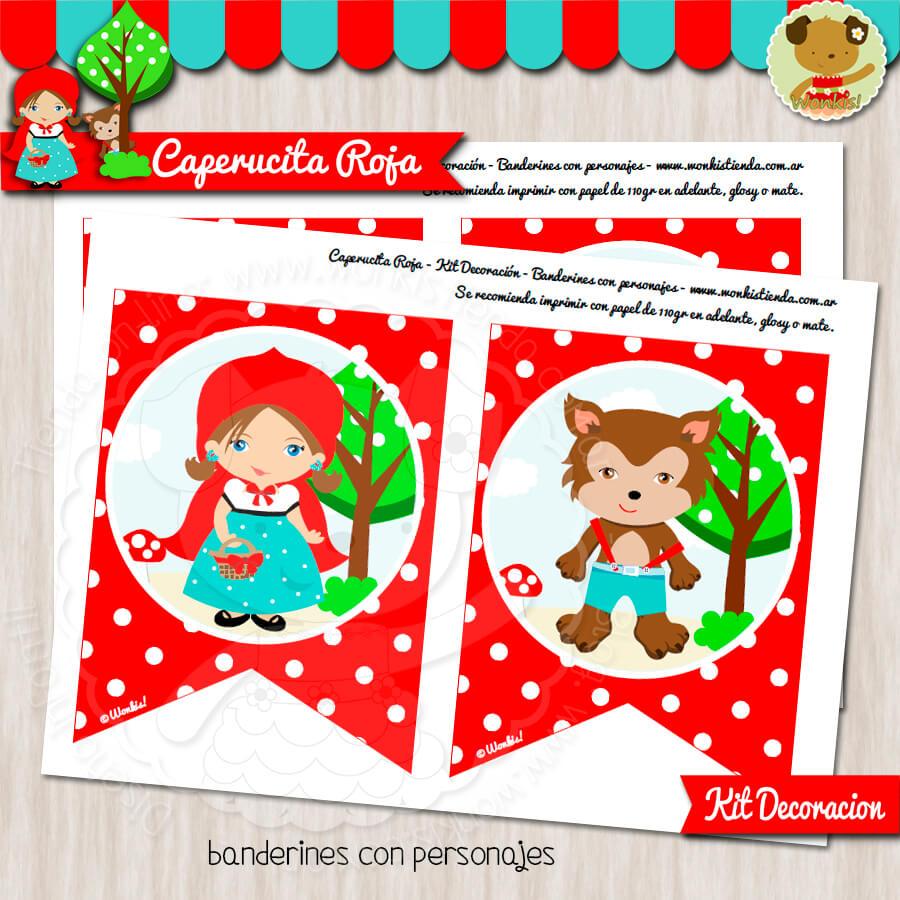 Caperucita Roja Kit Decoración Fiesta Imprimible