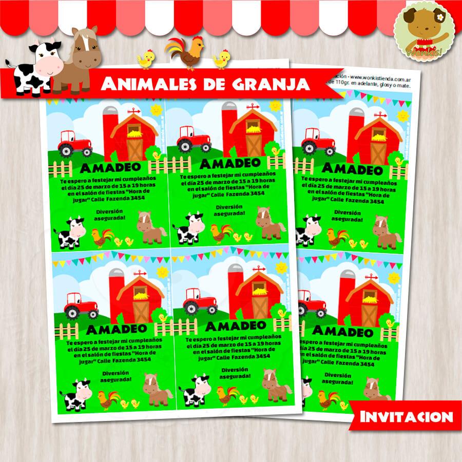 Animales de Granja - Invitación Textos editables