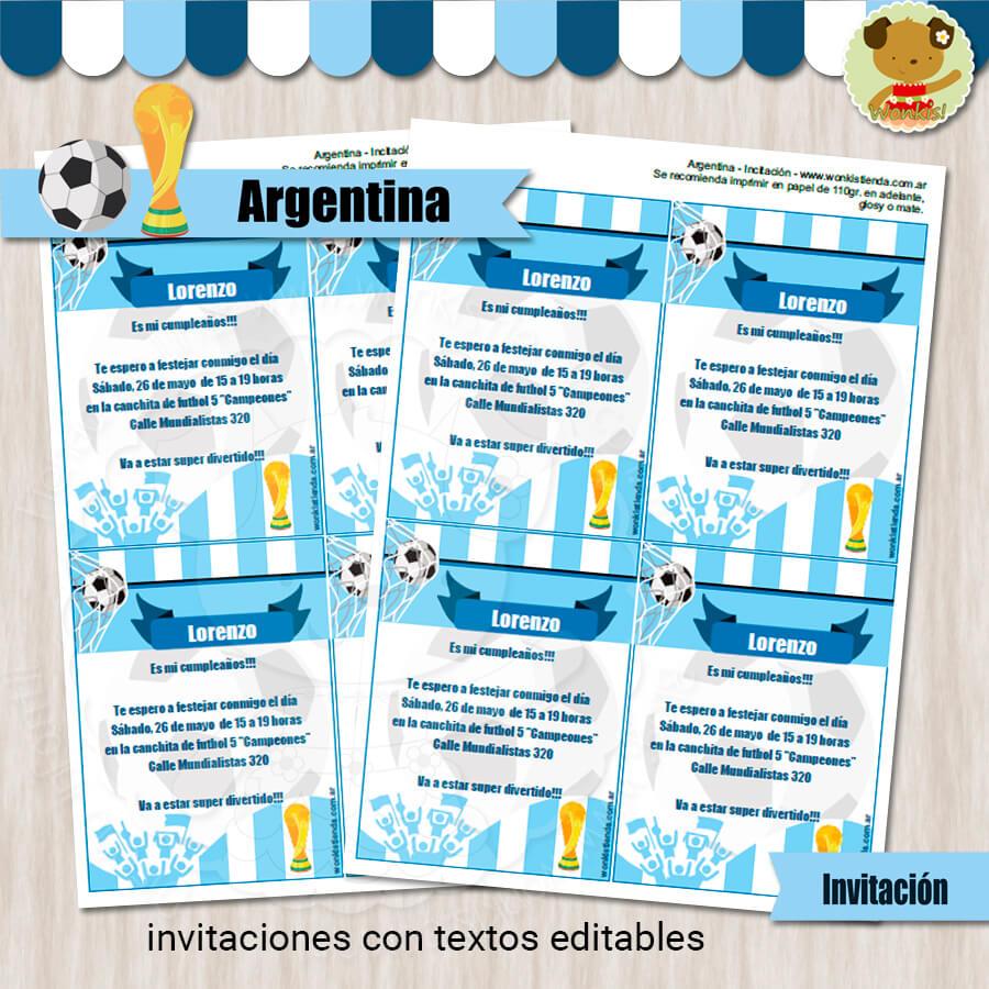 Argentina Invitación Textos Editables