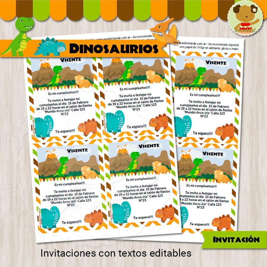 Dinosaurios Invitación Textos Editables