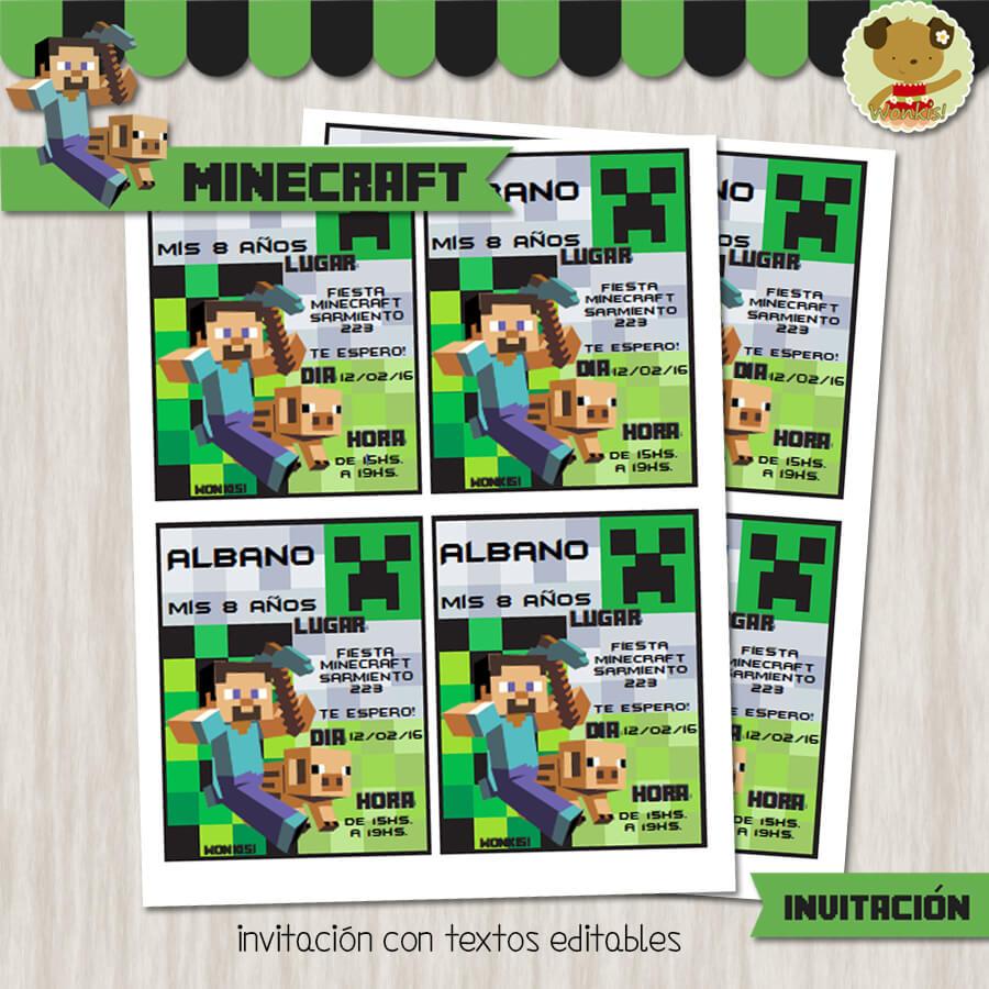 Minecraft Invitaci 243 N Textos Editables