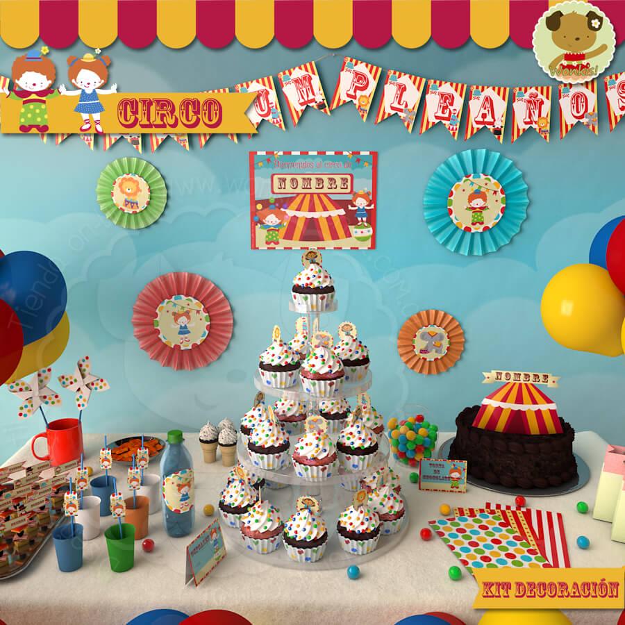 Circo kit decoracion fiesta imprimible for Decoracion para pared fiesta